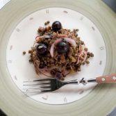 Salade de lentilles et confit de canard