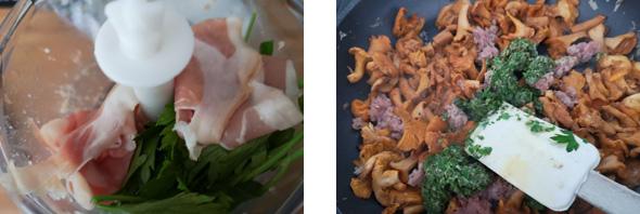 mixer-chiffonnade-jambon-ajouter-persil-girolles